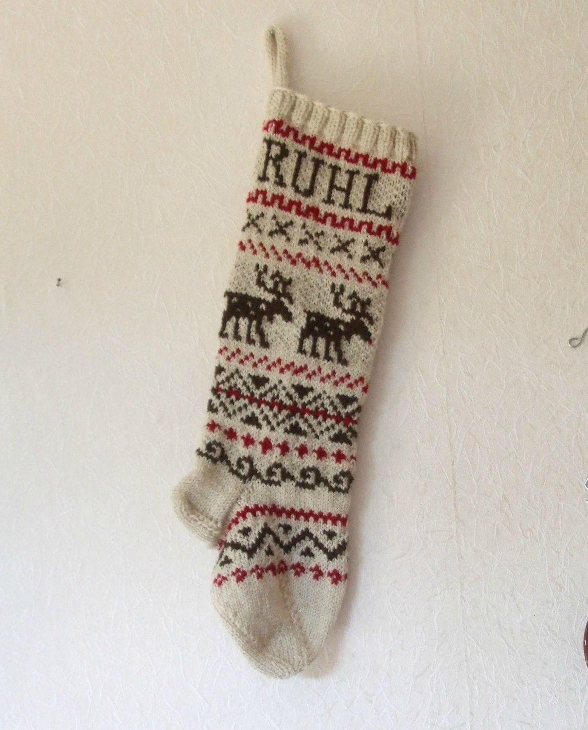 Holiday stocking custom knit personalized reindeer scandinavian holiday stocking custom knit personalized reindeer scandinavian design fair isle knit christmas stocking brown red made to order bankloansurffo Choice Image