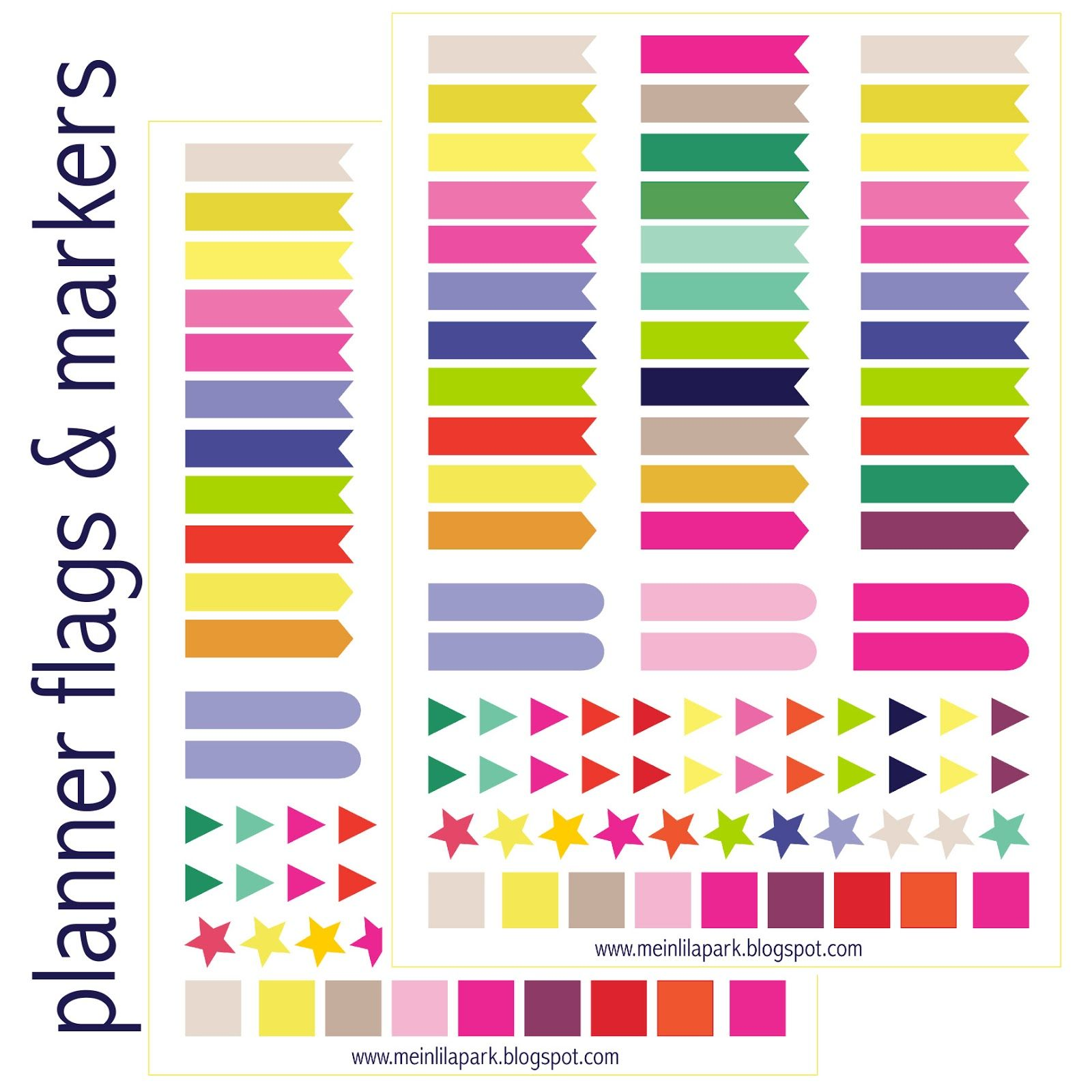 Free printable calendar planner flags and markers ausdruckbare