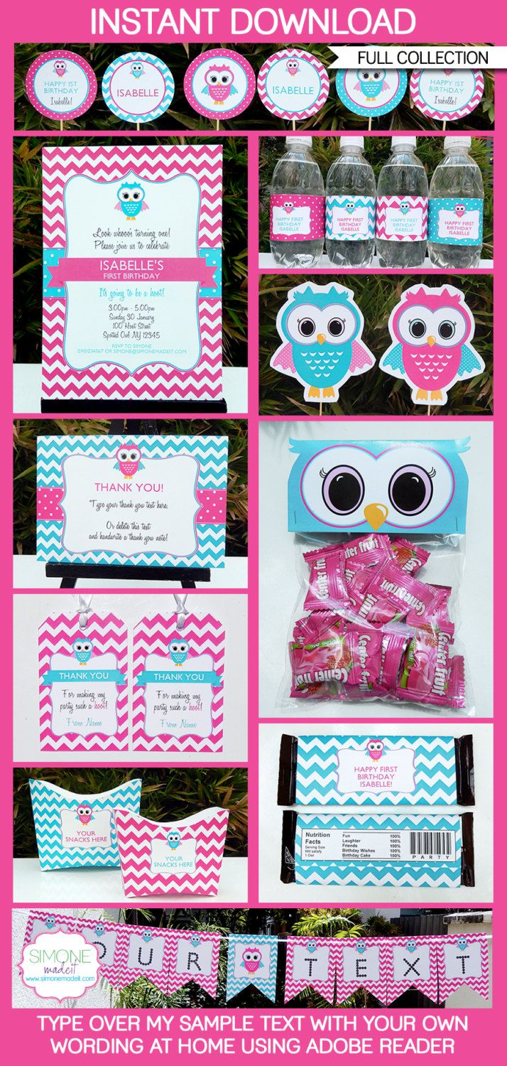 Owl Party Invitations & Decorations - full Printable Package - Pink ...