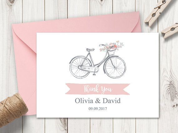Romantic Wedding Thank You Card Template Flower Bicycle Pink