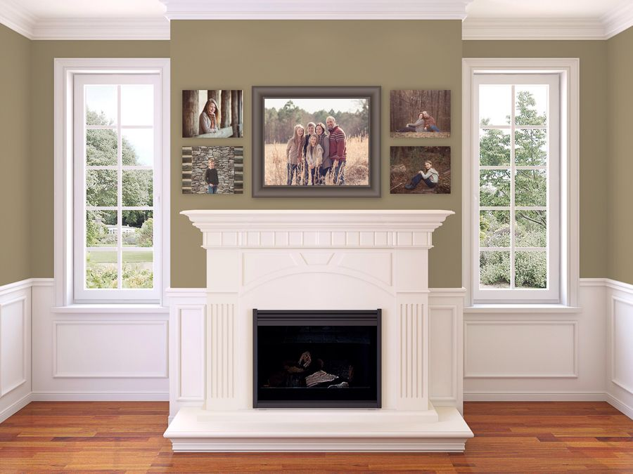 family portrait wall collage above fireplace | Living room ...