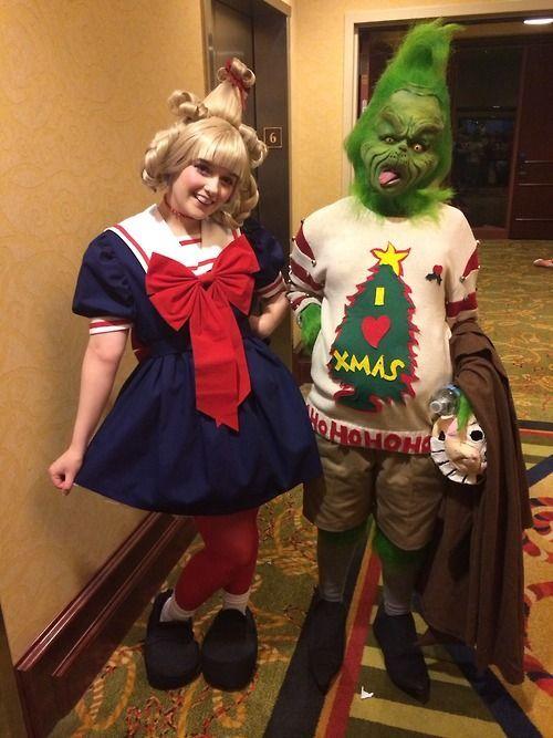 The \u0027Grinch\u0027 wear chrismas tree and \u0027Cindy Lou Who\u0027 with \u0027Whoville - school halloween costume ideas