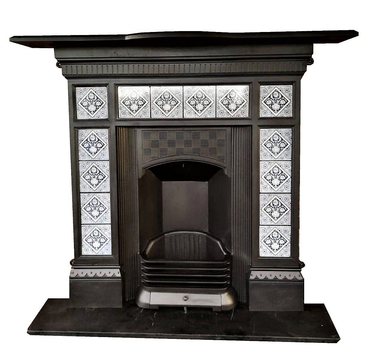 Arts And Craft Edwardian Fireplace With Minton Tiles Artsandcraft Artsandcraftfireplaces Antique Fireplace Surround Antique Fireplace Edwardian Fireplace