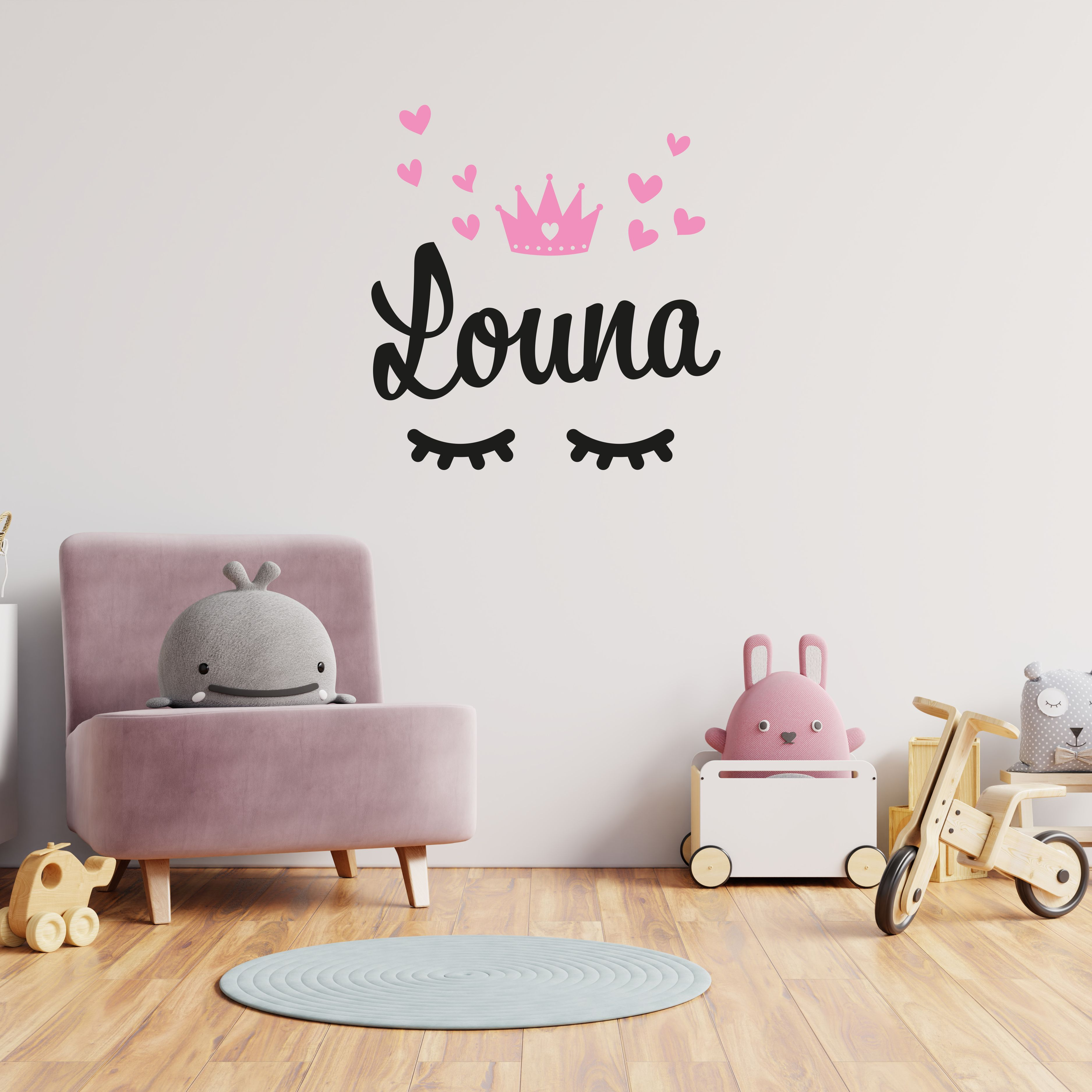 Stickers Child Room Baby Wall Custom Sticker Crown Heart First Name Kids Room Fresh Paint Custom Stickers