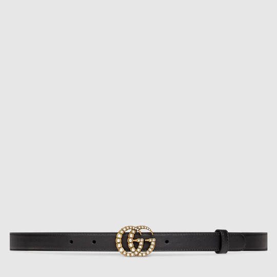 48127c31712  420 Gucci Leather belt with pearl Double G buckle