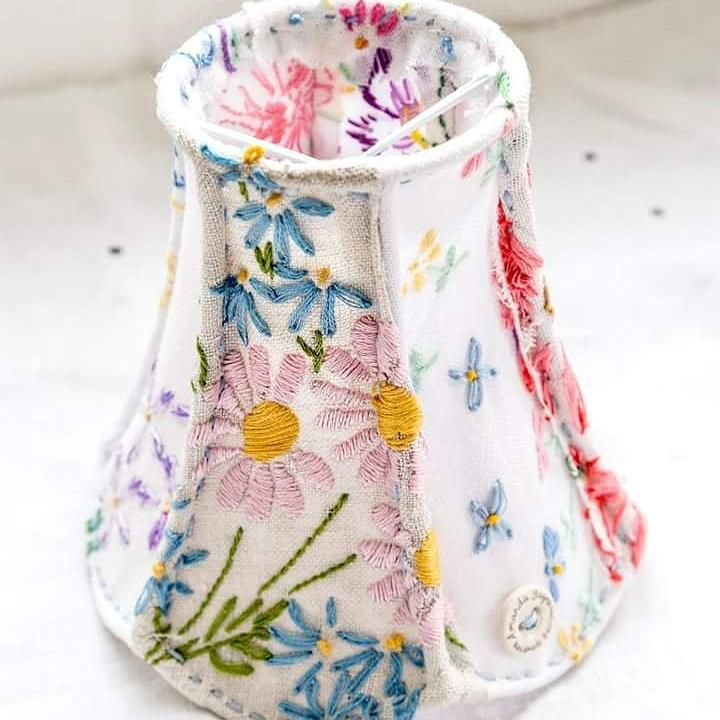 #ecocreatehour this #upcycled #lampshade is travelling to #Australia #vintage #embroidered #linens