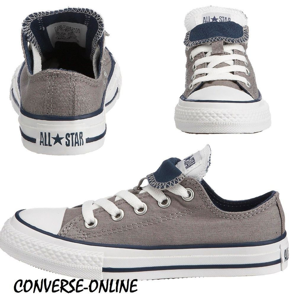 eecd93687865 ... france kids boys girls converse all star grey blue double tongue ox  trainers size uk 10