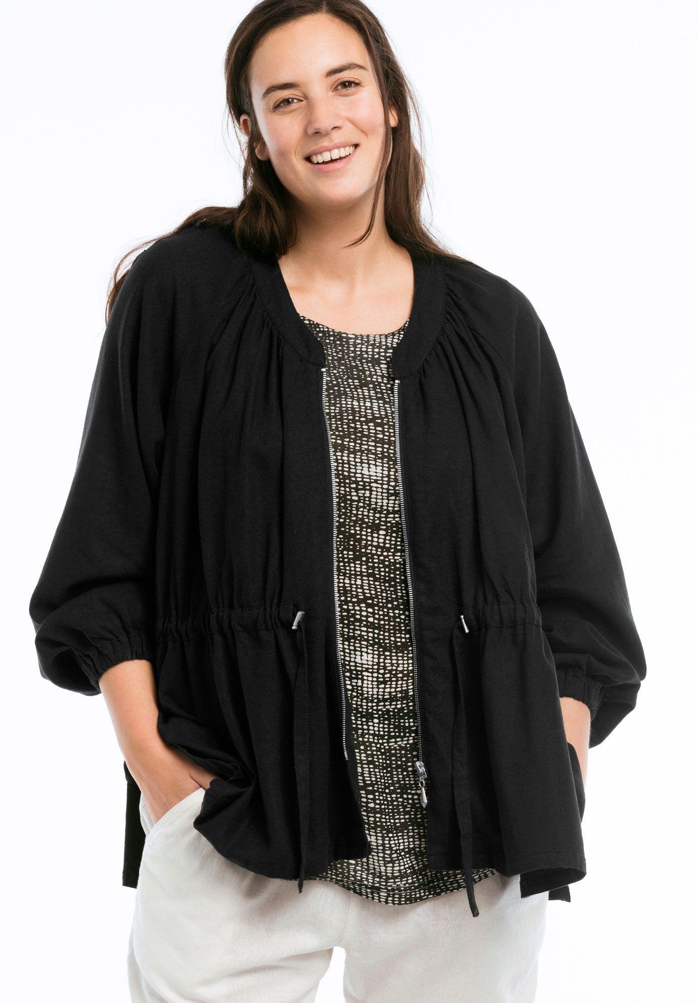 0556e441a58 Zip Front Linen Blend Jacket by ellos - Women s Plus Size Clothing ...