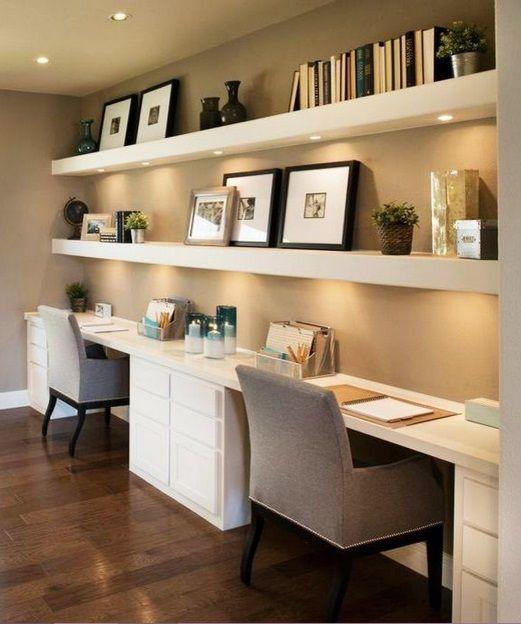 современные спальни дизайн: Шкафчики с подсветкой над столом + длинный стол