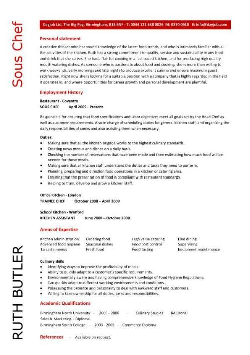 Chef Resume Sample Examples Sous Chef Jobs Free Template Chefs
