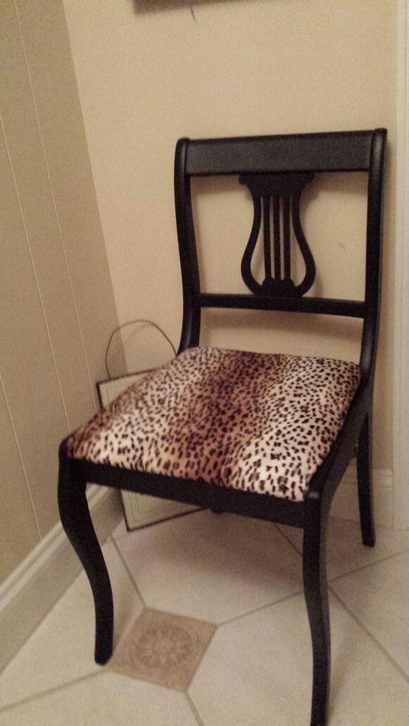 $95   Fabulous Antique Lyre Harp Back Chair...With A Touch Of The Wild Side  Featuring Brand New Cheetah Print Fabric! Chair Has Been Painted In A  Gorgeous ...