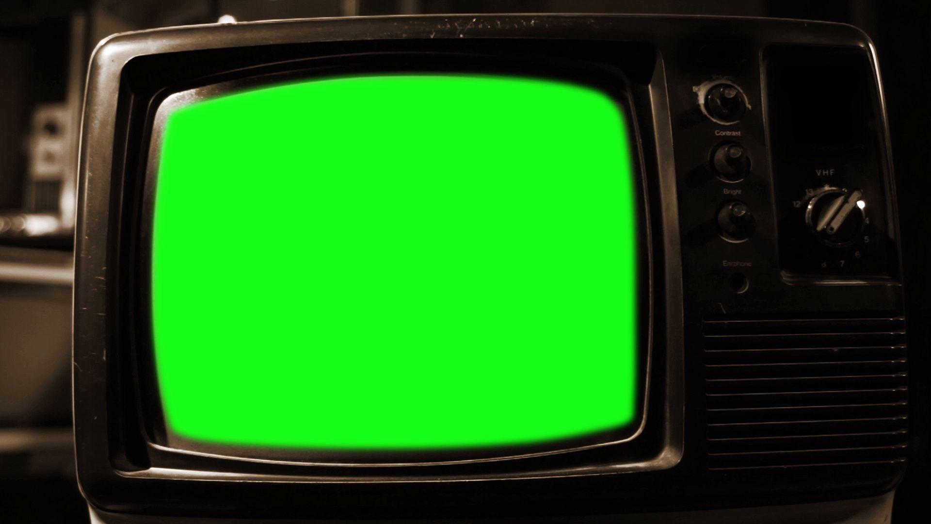A Retro Television With Green Screen Sepia Tone Zoom Out Stock Footage Ad Green Screen Television Retro Gambar Garis Bingkai Foto Gambar