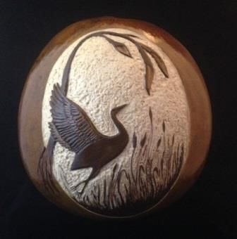 "*Gourd Art - ""Crane in Flight"" by Chalmers Locklear"