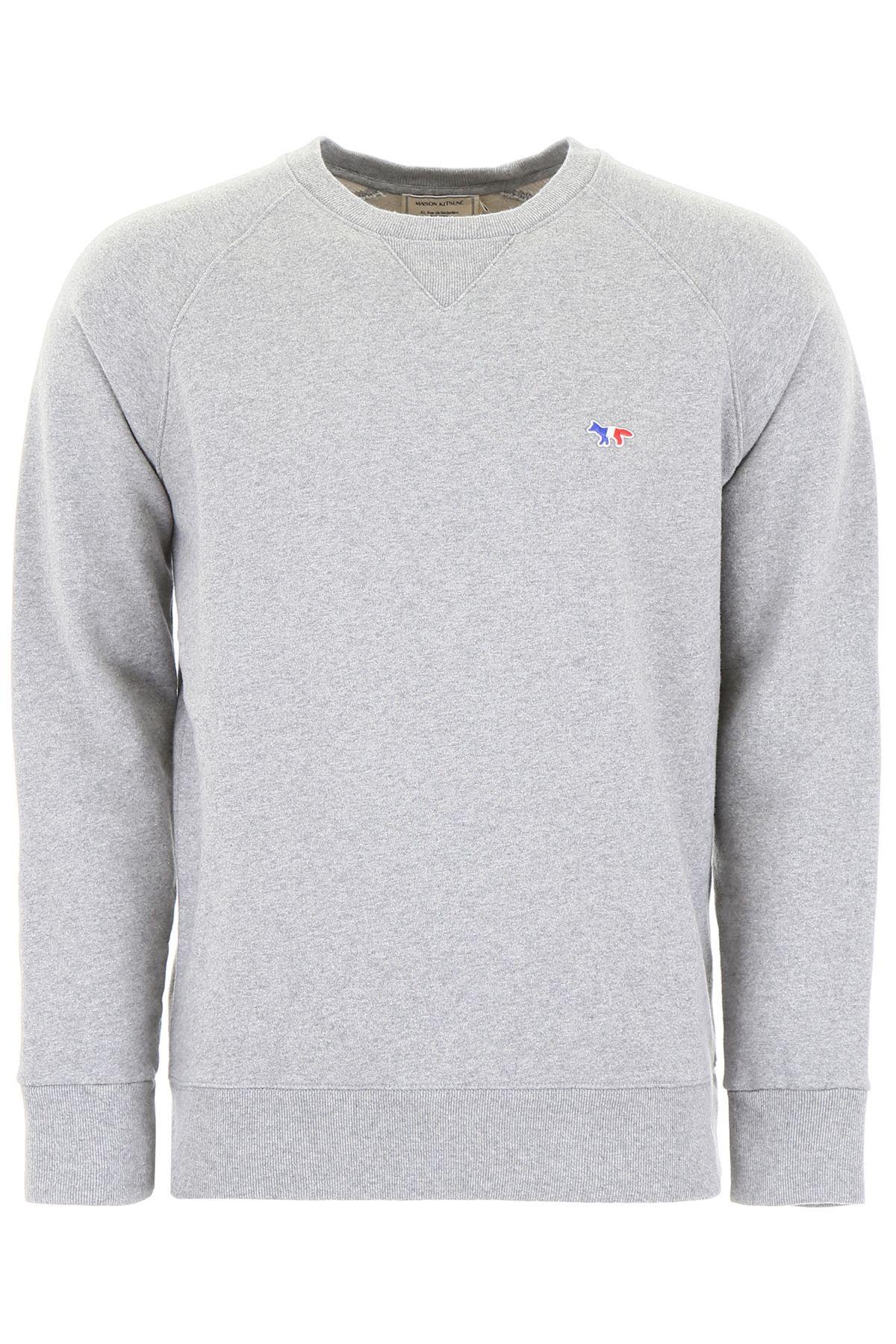 Maison Kitsune Tricolor Fox Sweatshirt In Grey Melange Grigio Modesens Sweatshirts Maison Kitsune Kitsune [ 1800 x 1200 Pixel ]
