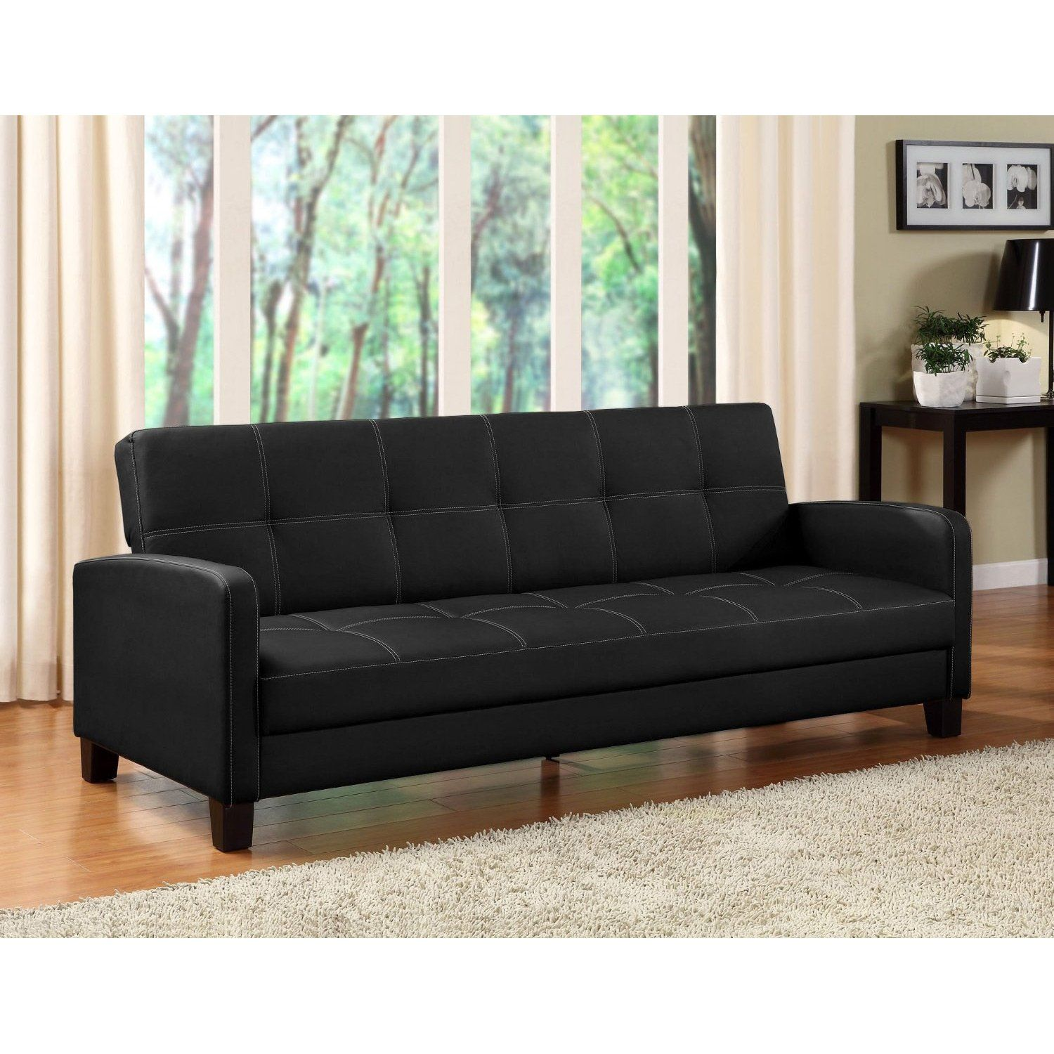 This Clic Black Faux Leather Futon Sofa Sleeper Will Add Style To Your Living Room With Its Rich Upholstery Beautiful Contrast Sching