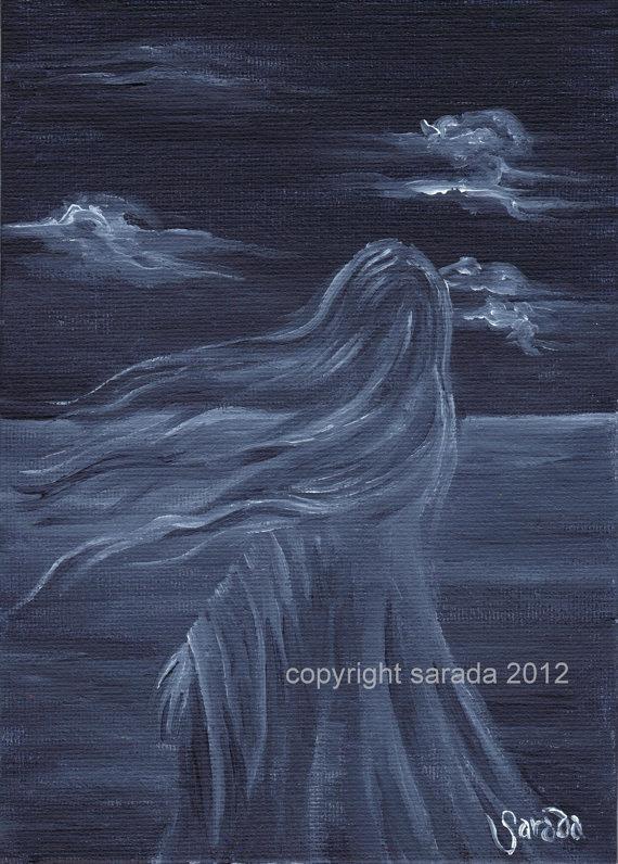 Dark Gothic Art Print Fantasy Art Ghost Woman Monochrome Blackwhite