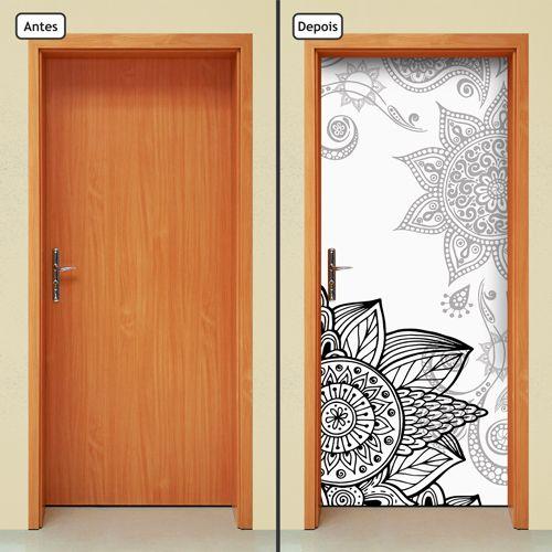 Armario Planejado Para Quarto Casal ~ Adesivo Decorativo De Porta Mandalas Flores 155mlpt