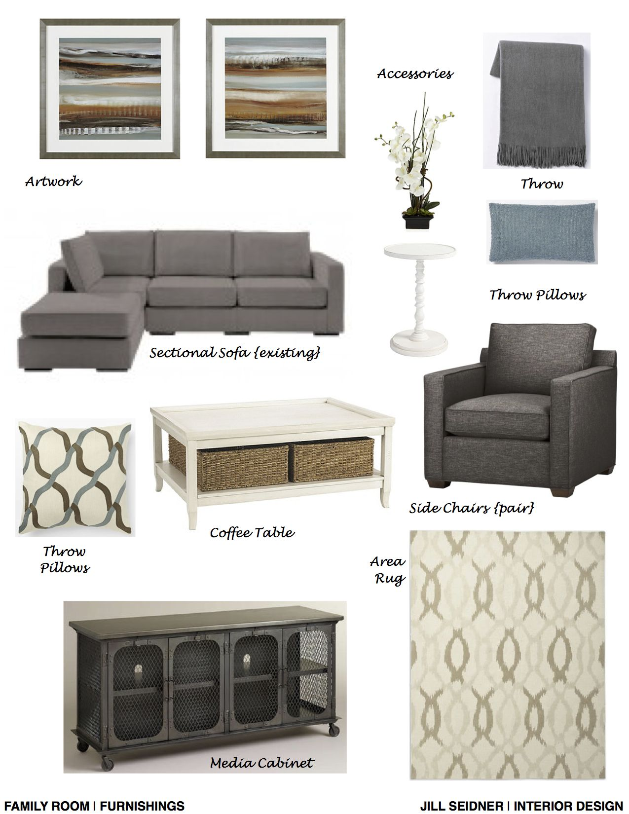 Family Room Furnishings Part - 44: Simi Valley, CA Residence Family Room Furnishings Concept Board.