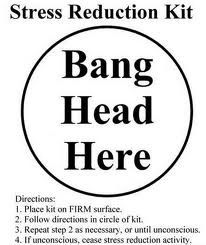 Funny Stress Quotes Bang Head Here Tin Sign at AllPosters.com