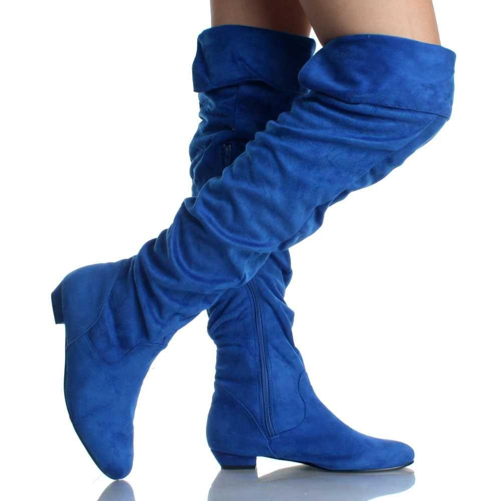 Blue Suede Stretch Slouch Fashion Dress