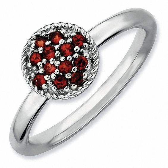 Zales Stackable Expressions Garnet Double Heart Ring in Sterling Silver y78SA