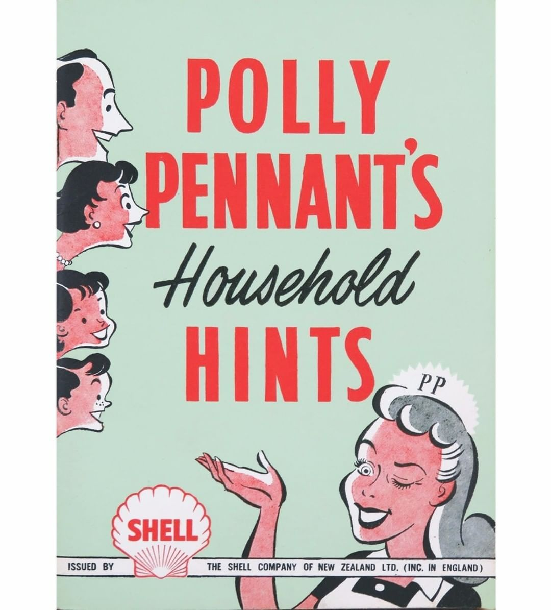 Polly Pennant's book of Household Hints, designer and era unknown. Polly was a mascot (but far from the only one) of the Shell Company in New Zealand. Paragon Publishing's 'Stitch' ran a hints 'column' by her from around 1951-1953; really they were glorified adverts to sell what would normally be seen as a masculine brand of products to a female audience via a craft magazine. Polly also appeared with her fake help column in smaller and independent fundraising cookbooks; so she was definitely cre #cookingandhouseholdhints