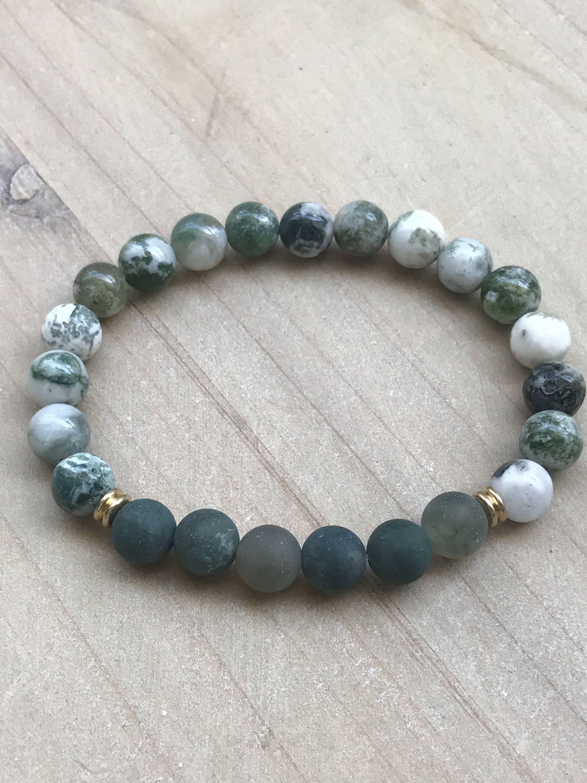 Moss Agate beaded bracelet