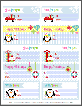 free download fillable penguin holiday labels by hello cuteness com