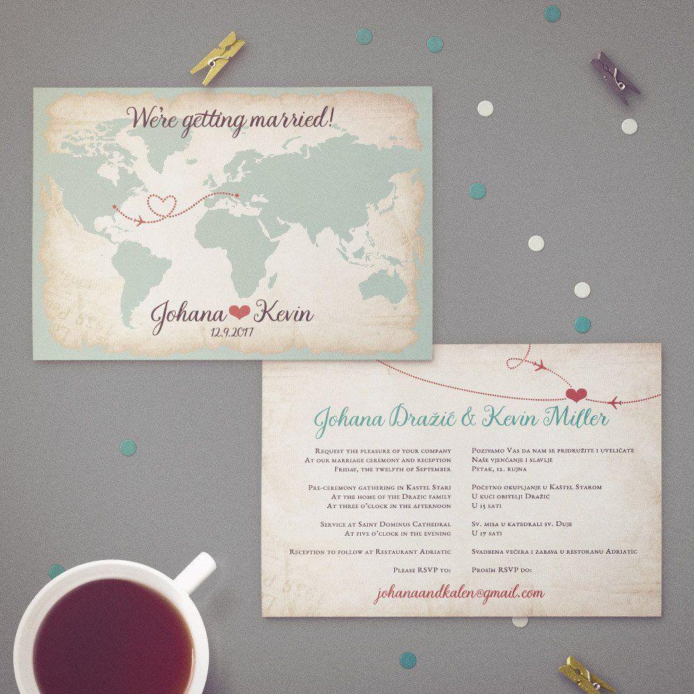 Two Language Bilingual Wedding Invitation | Vintage Design Featuring ...