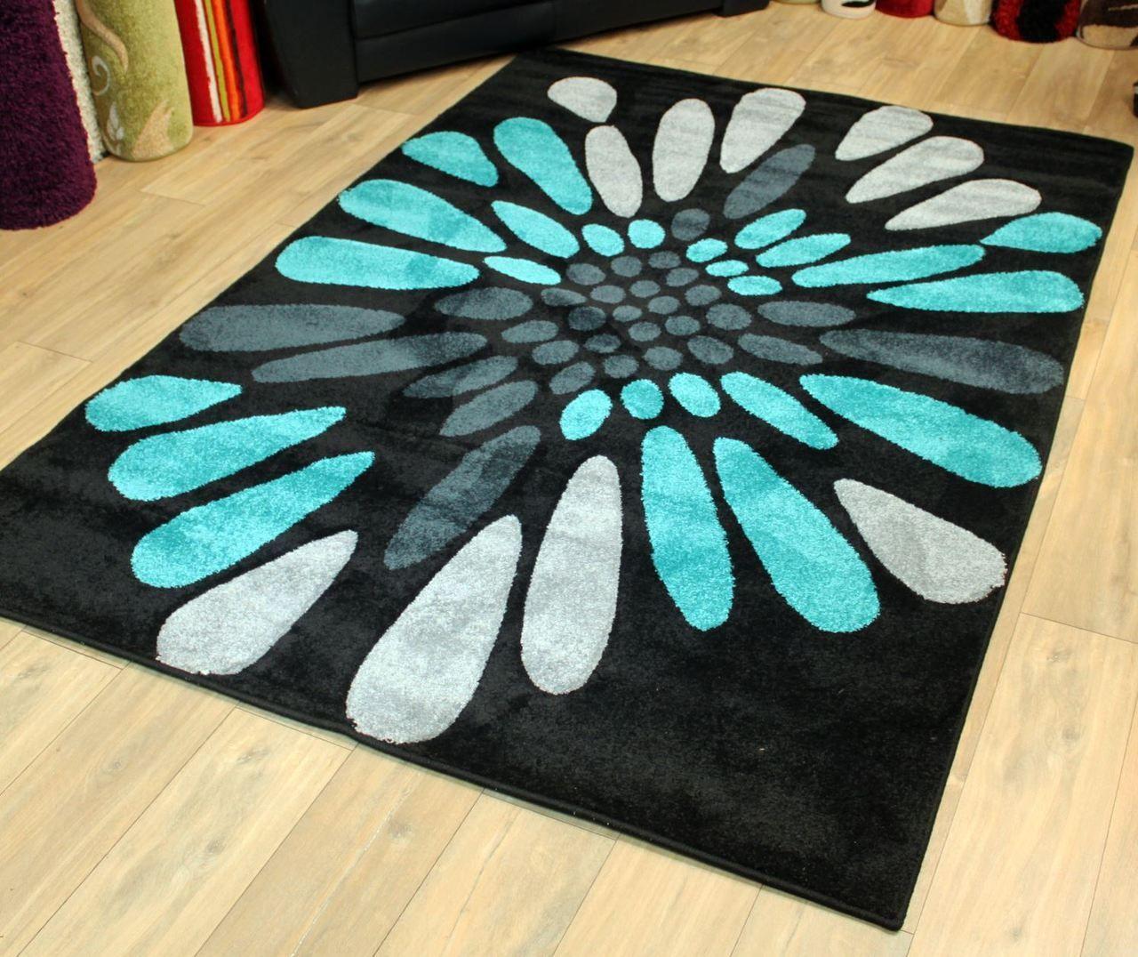 modern style rugs  viola k black teal blue cm x cm  - modern style rugs  viola k black teal blue cm x cm £ (