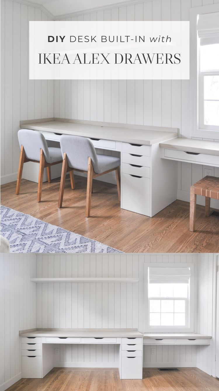 Home office desk builtin with Ikea Alex drawer hack