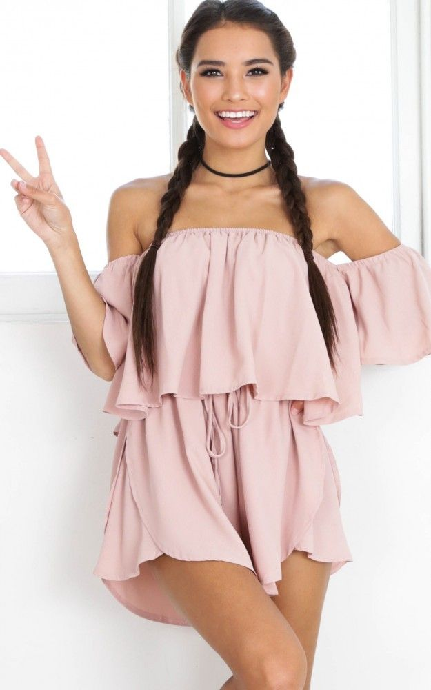 7d8bbc9f78 Blush Off-the-Shoulder Tied Waist Playsuit