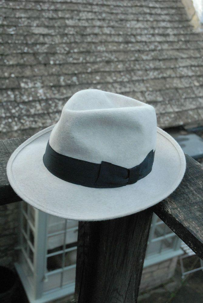 Vintage 70 S Real Hair Felt White Fedora Trilby Hat Uk 6 3 4 Eu 55 Hut Trilby Hat Hats Fedora