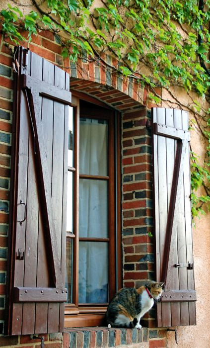 Love the old world look of these sturdy barn shutters - Exterior wooden shutters for windows ...