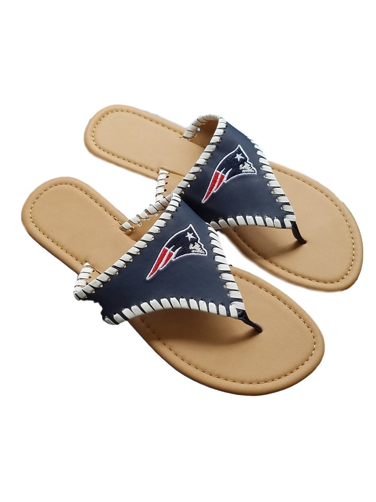 sports shoes 330b4 03d84 NFL New England Patriots Women s High End Embroidered Spring Sandals Slides