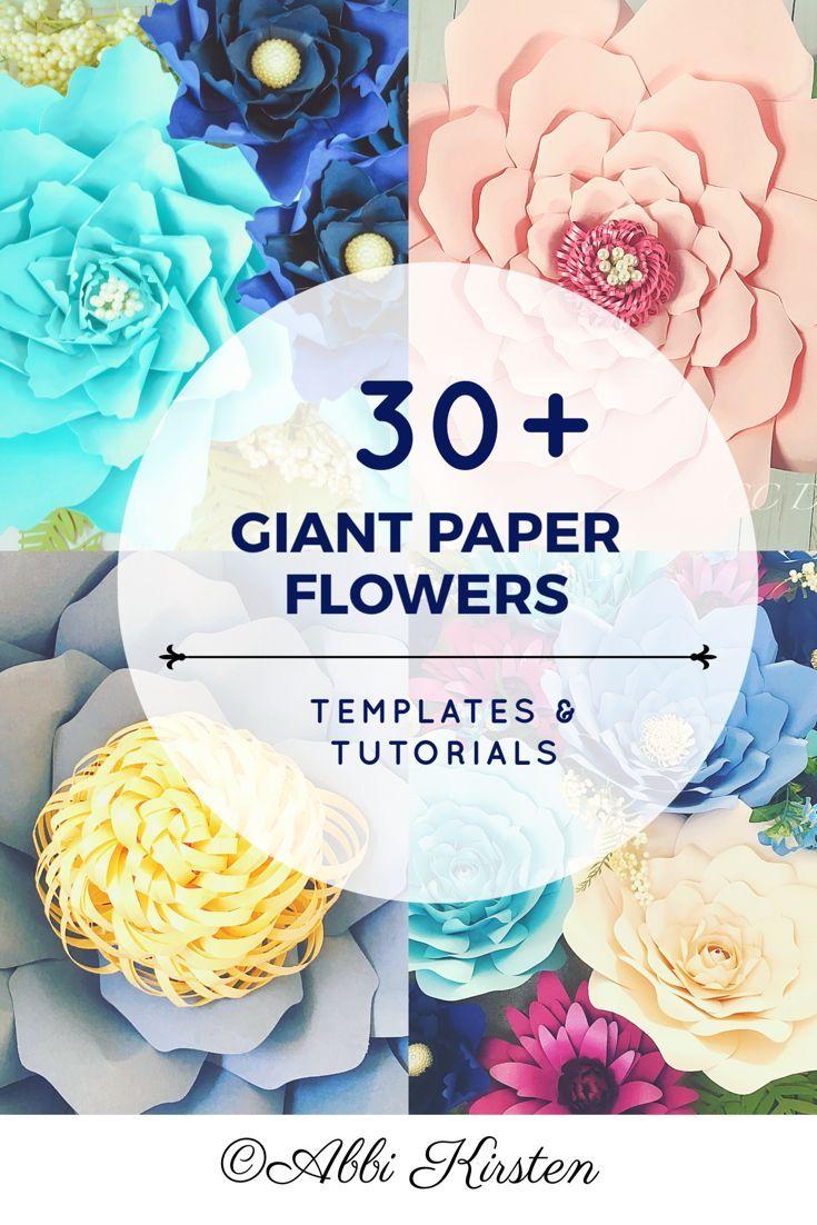 Giant paper flower printable templates Easy paper flower tutorials