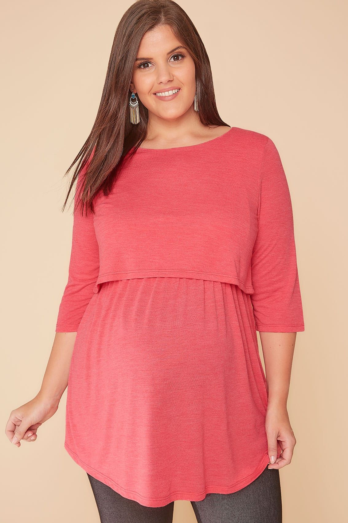 949eb3183f1 BUMP IT UP MATERNITY Coral Layered Tunic Top With Nursing Function ...