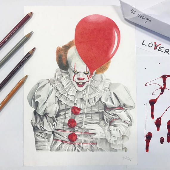 Original Pennywise The Clown Bill Skarsgard Drawing With Images