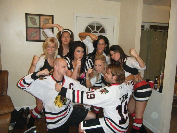 Group Halloween Costume Blackhawks Ice Girls And Hockey Players But Ovb The Red Wings Cute Halloween Costumes Group Halloween Costumes Hockey Halloween