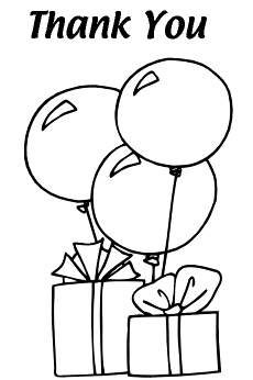 Free Kids Party Cards: Balloon Thank You Cards - Kids Coloring Pages ...
