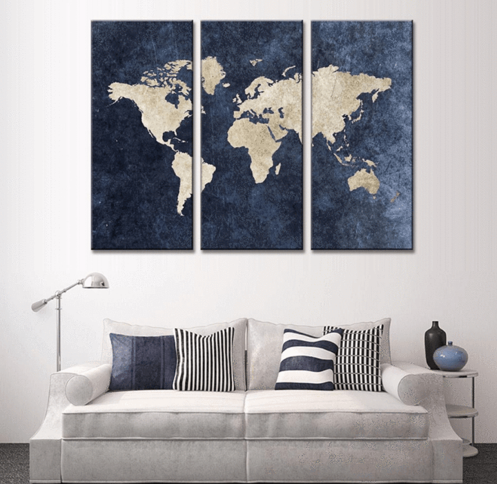3 panel blue world map canvas wall art wall canvas canvases and 3 pieces multi panel modern home decor framed blue world map wall canvas art octo publicscrutiny Choice Image