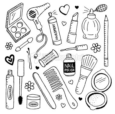 a doodle page of supplies and makeup doodle
