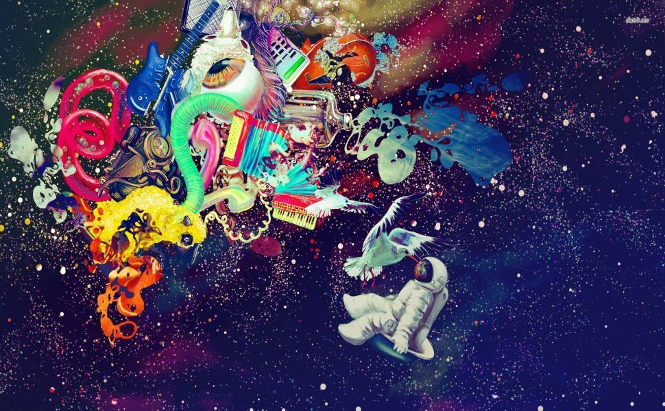 Astronaut In Artistic Space Hd Wallpaper Trippy Wallpaper