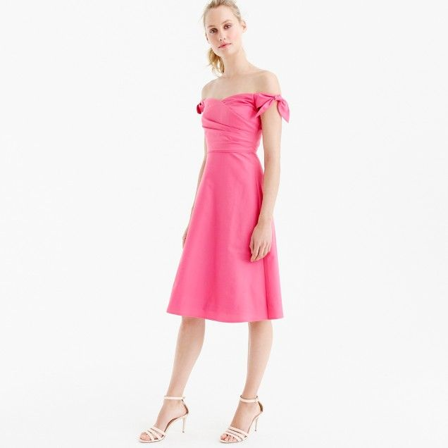 Off-the-shoulder strapless dress with ties in faille : Women ready ...