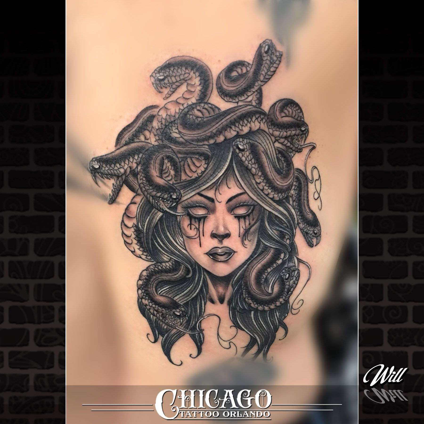 Chicago Tattoo Orlando Halloween 2020 _ M E D U S A _ & her venomous snakes. This one's by Will! Will is