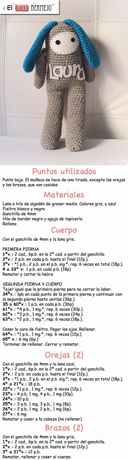 Patrón gratis español - #amigurumi #free #pattern @El Gallo Bermejo ...