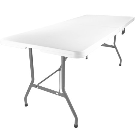 Advantage 6 Ft Bifold Rectangular White Plastic Folding Table