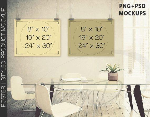 8x10 #WP04 Set of 2 Portrait & Landscape Poster Mockups on Interior ...