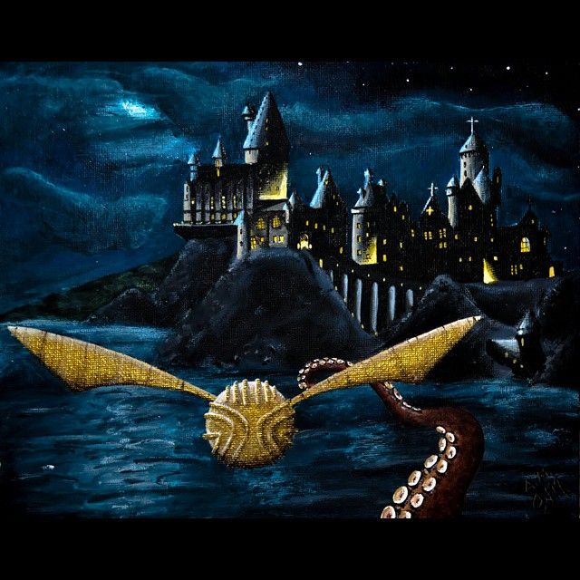 Hogwarts Acrylic Painting At Night With Golden Snitch Escaping An Octopus Tentacle Harry Potter Harry Potter Wall Art Harry Potter Painting Hogwarts Painting