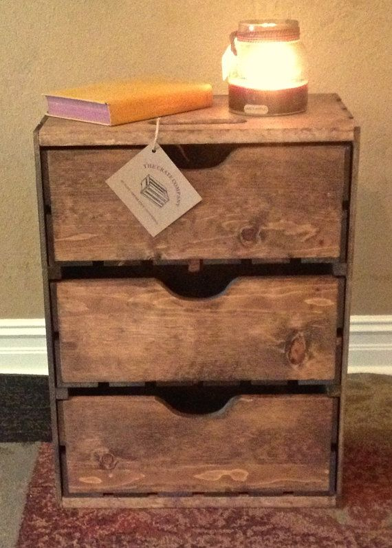 Extra Large Three Drawer Wood Storage Crate   X X 11   Stacking Crates    Pullout Crates   Decorative Crate   Apple Crate